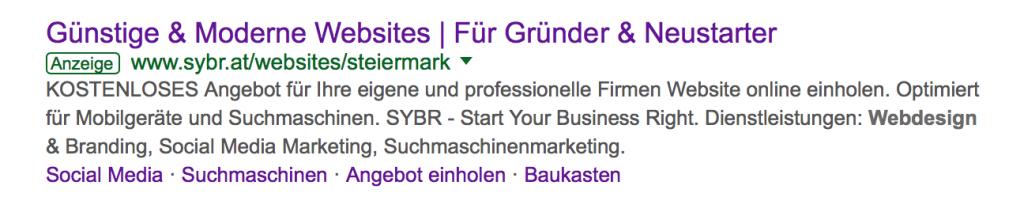 Ein Screenshot einer Googleanzeige als Beispiel für Suchmaschinenwerbung
