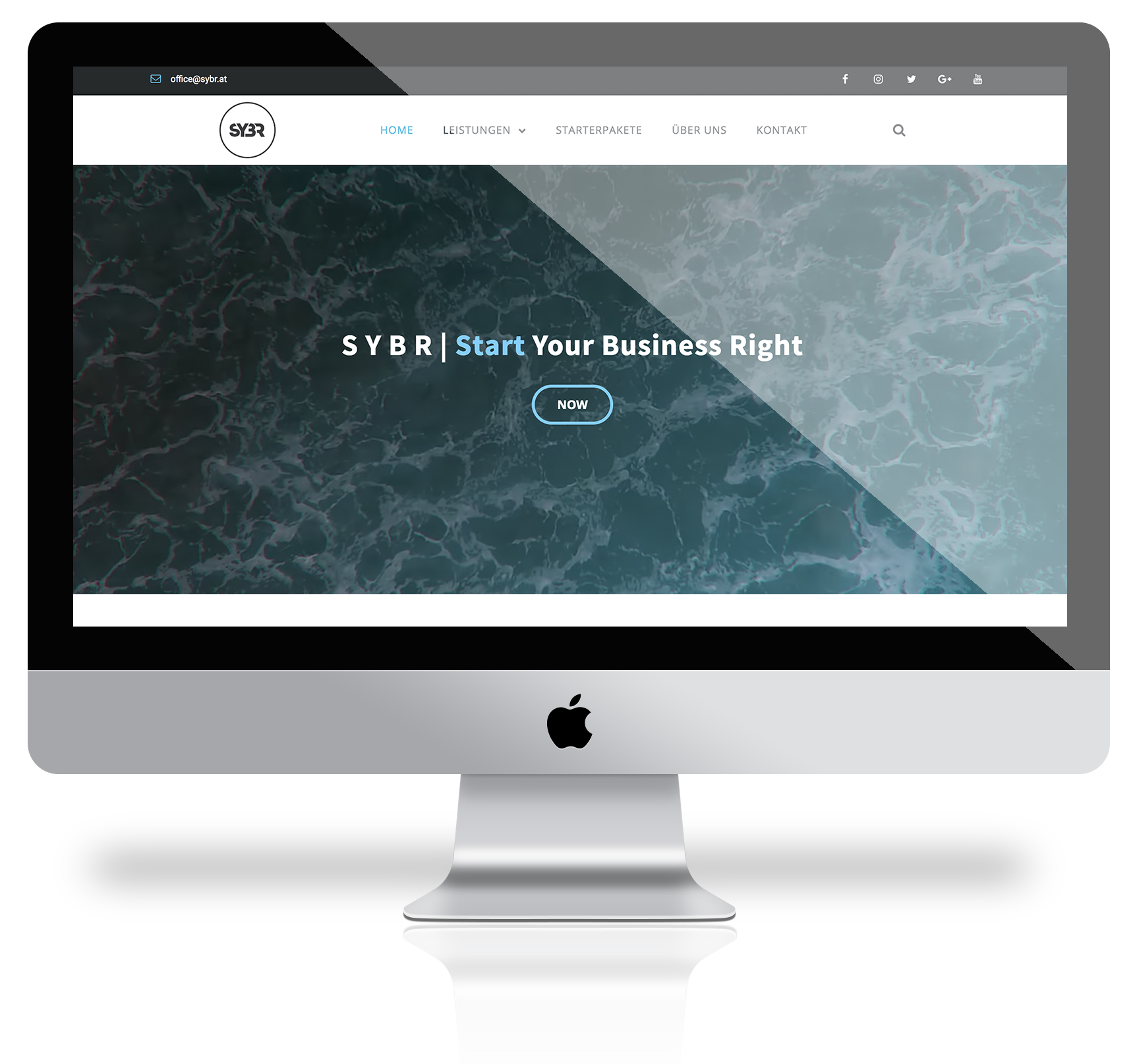 "iMac mock up mit der Website von ""start your business right"""